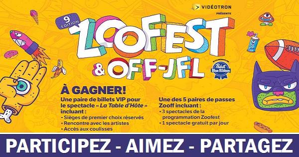 Concours Voyez le spectacle Table d'Hôte présenté dans le cadre du Zoofest, avec un ami!