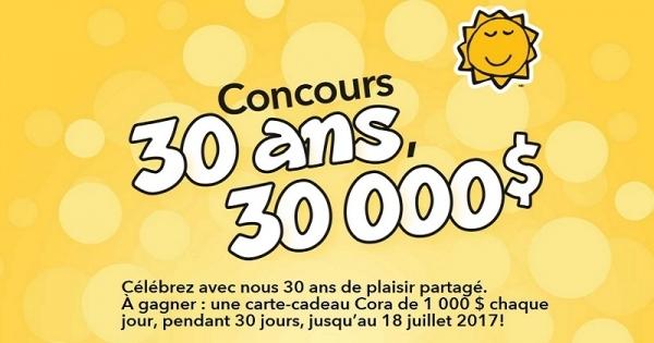 concours gagnez une carte cadeau cora de 1 000 chaque jour pendant 30 jours concours en. Black Bedroom Furniture Sets. Home Design Ideas