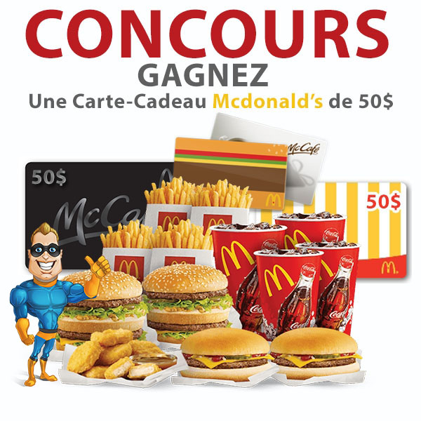 concours concours gagnez une carte cadeau mcdonalds de 50. Black Bedroom Furniture Sets. Home Design Ideas