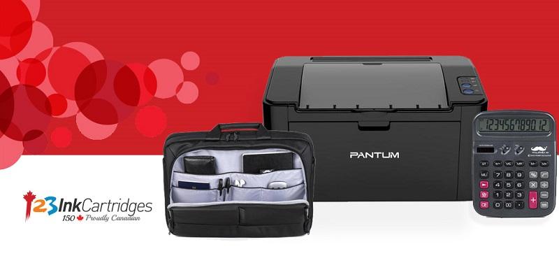 Concours Gagnez un ensemble d'accessoires pour le bureau comprenant une imprimante, un sac de transport pour votre ordi et plus!