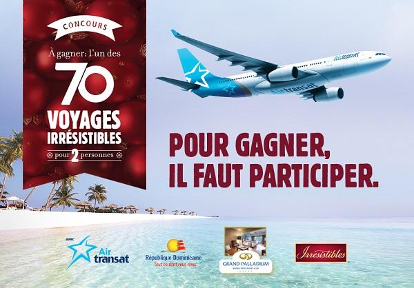 Concours Gagnez 1 des 70 voyages irrésistibles pour 2 personnes d'une valeur de 4 500$!