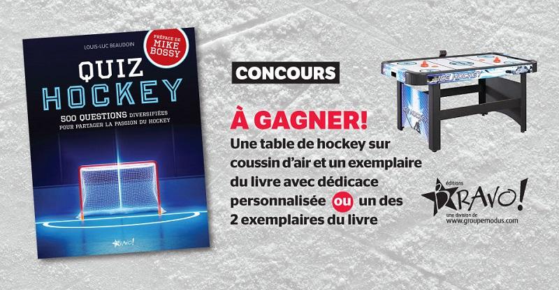 Concours Gagnez une table de hockey sur coussin d'air et un exemplaire du livre Quiz Hockey!