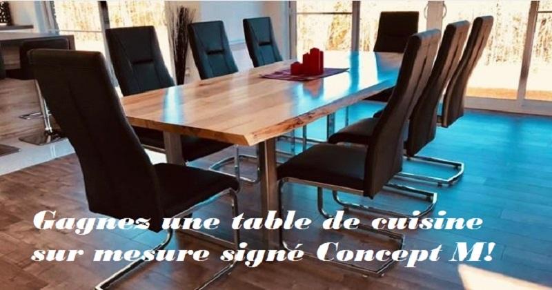 Concours gagnez une table de cuisine sur mesure sign - Combien mesure une table de salle des fetes ...
