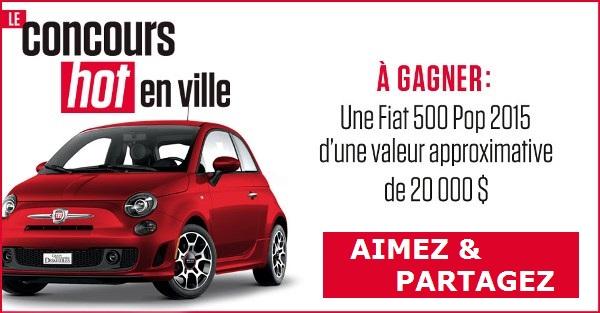 Concours gagnez une Fiat 500 Pop 2015 de couleur rouge!
