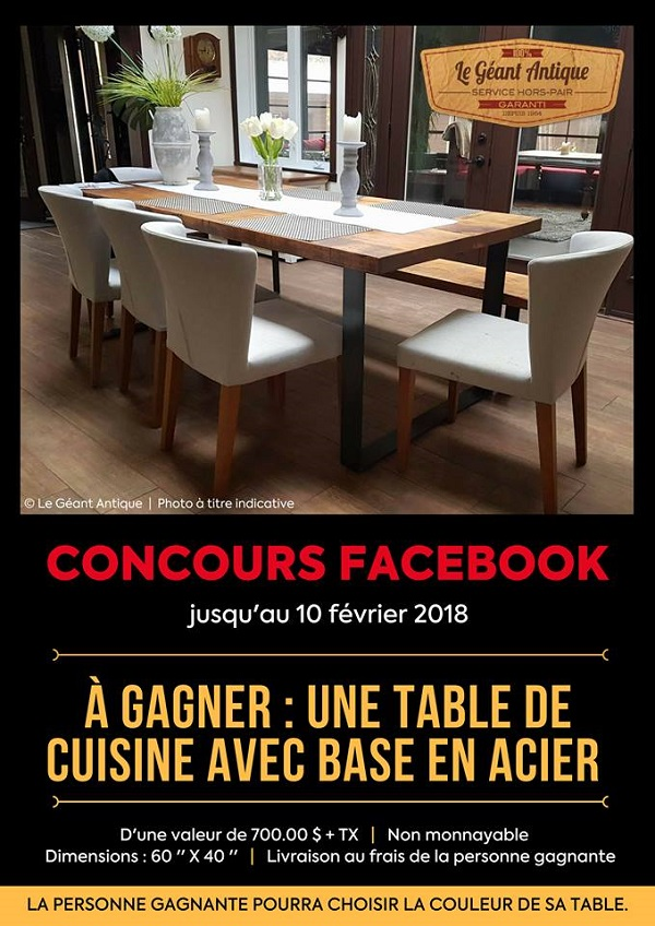 Concours Gagne ta table de cuisine offerte par Le Géant Antique!