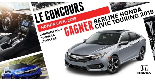 Concours Gagnez une berline Honda Civic Touring 2018!