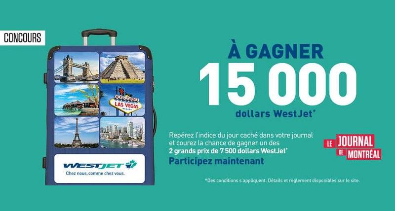 Concours Gagnez l'un des 2 grands prix de 7500 dollars WestJet!