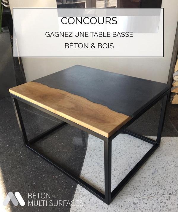 concours gagnez une table basse b ton bois concours en ligne qu bec. Black Bedroom Furniture Sets. Home Design Ideas