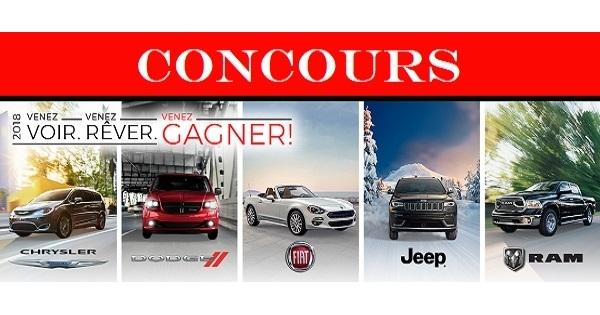 Concours Gagnez un véhicule Chrysler, Dodge, Jeep, Ram ou FIATMD!