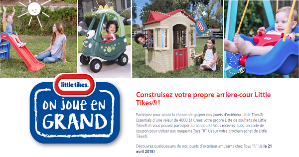 Concours Gagnez des jouets d'extérieur Little Tikes Essentials d'une valeur de 4000 $!
