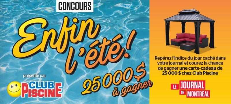 Concours Gagnez une carte-cadeau de 25 000 $ de Club Piscine Super Fitness!