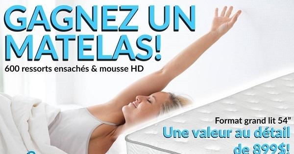 Concours GAGNEZ UN MATELAS GRAND LIT D'UNE VALEUR DE 899$!