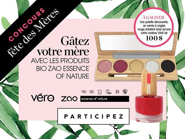 Concours GÂTEZ VOTRE MÈRE AVEC LES PRODUITS DE MAQUILLAGE ZAO!
