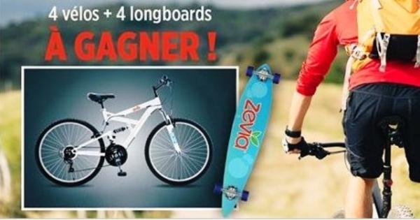 Concours Gagnez l'une des 4 Vélos de Montagne ou Longboards offerts par Zévia et Avril Supermarché Santé!