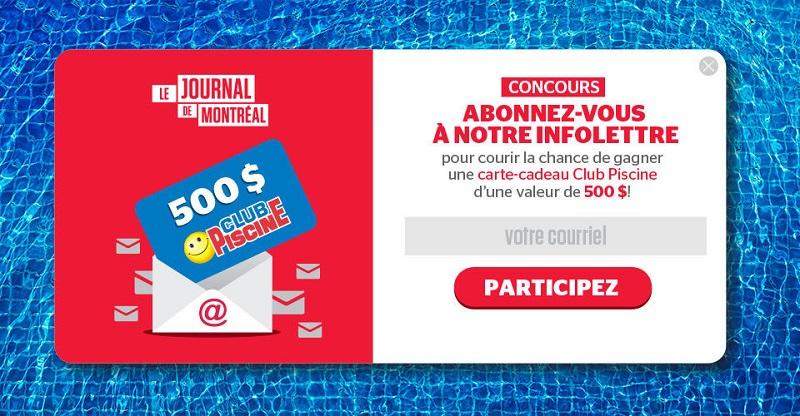 Concours Gagnez une carte cadeau d'une valeur de 500$ chez Club Piscine!