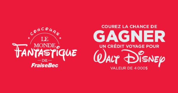 Concours Gagnez un crédit voyage de 4000$ pour Walt Disney!