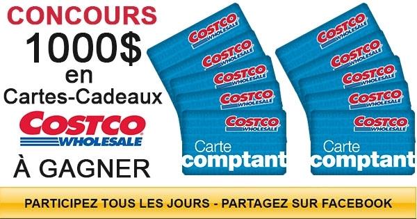 Concours 10 Cartes-Cadeaux Costco de 100$ à Gagner!