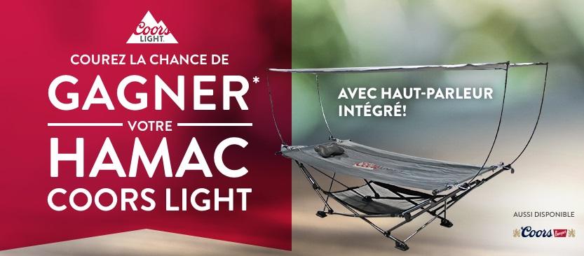 Concours Gagnez votre hamac Coors Light avec haut-parleur intégré!