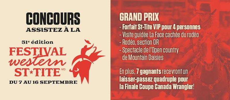 Concours Assister à la 51e édition du Festival western de St-Tite!