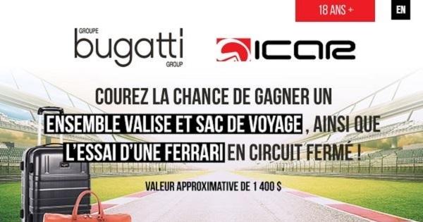 Concours Gagnez un ensemble valise et sac de voyage, ainsi que l'essai d'une Ferrari en circuit fermé chez ICAR!