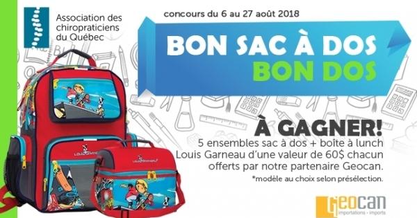 Concours Gagnez un des 5 ensembles sac à dos et boîte à lunch Louis Garneau d'une valeur de 60$ chacun!