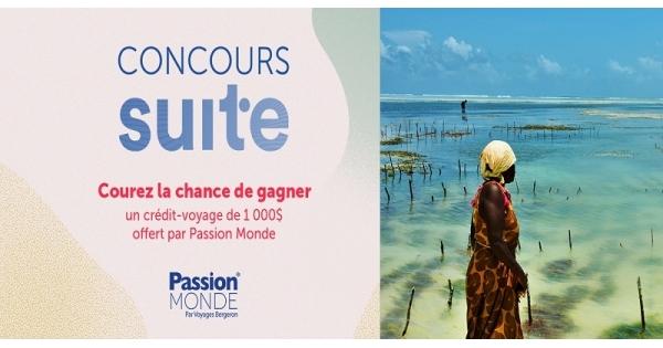 Concours Gagnez un crédit-voyage de 1 000 $ offert par Passion Monde!