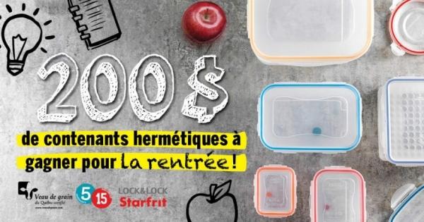 Concours Gagnez un assortiment de contenants hermétiques Lock & Lock d'une valeur de 200$!