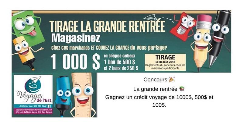 Concours Gagnez un crédit voyage de 1000$, 500$ et 2 bons de 250$ offert par Voyages de l'Est!