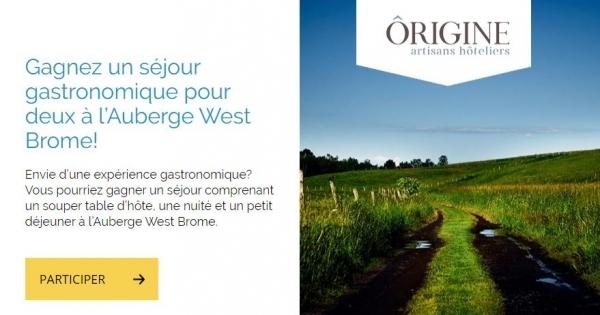 Concours Gagnez un séjour gastronomique pour deux à l'Auberge West Brome!