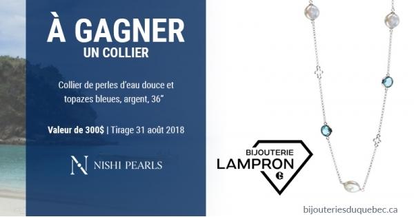 Concours Gagnez un collier perles d'eau douce et topazes bleues!
