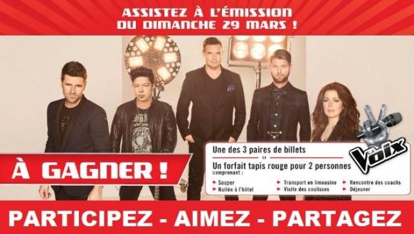 Concours La Voix Gagnez un forfait Tapis Rouge pour 2