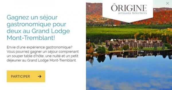 Concours Gagnez un séjour gastronomique pour deux au Grand Lodge Mont-Tremblant!