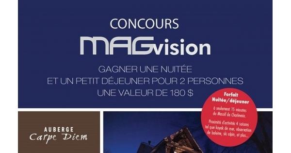 Concours Gagnez un forfait à L'Auberge Carpe Diem!