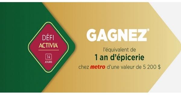 Concours Gagnez un an d'épicerie chez Metro d'une valeur de 5 200$!