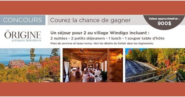 Concours Gagnez un séjour nature au village Windigo!