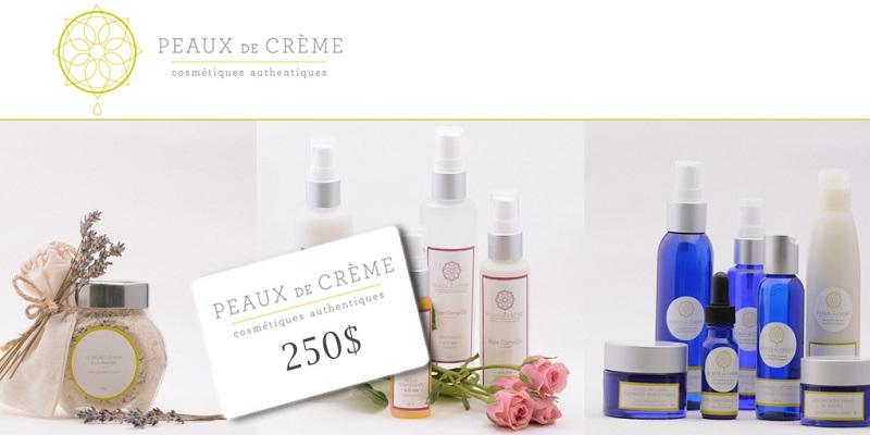 Concours Gagnez une carte-cadeau de 250$ pour des cosmétiques naturels signés Peaux de crème!