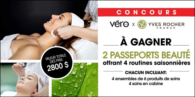 Concours Gagnez l'un des deux passeports beauté Yves Rocher d'une valeur de 1400$ chacun!