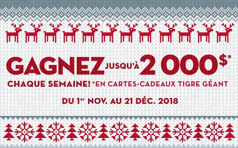Concours de Noël 2018 de Tigre Géant!