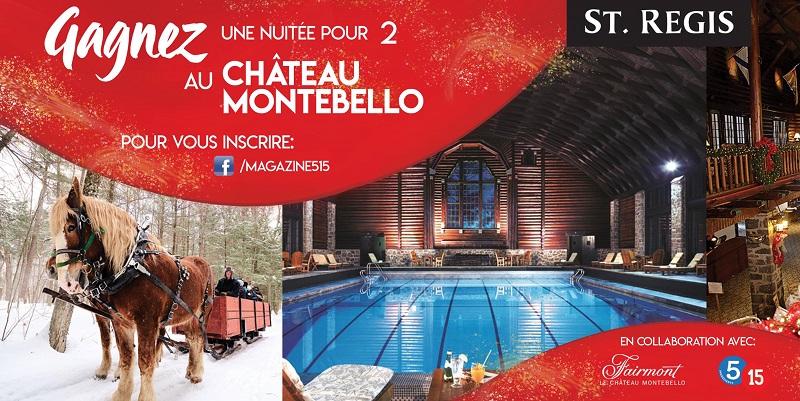 Concours Gagnez une nuitée pour 2 au Château Montebello!