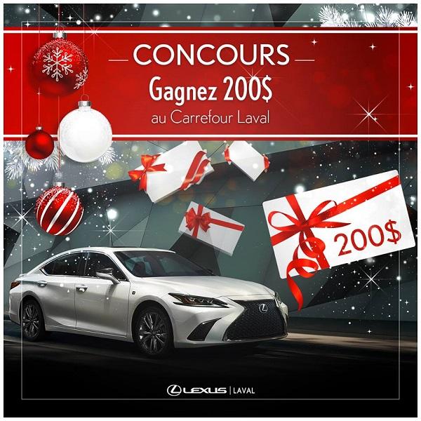 Concours Gagnez 200$ en carte-cadeau au CF Carrefour Laval pour vos achats de Noël!