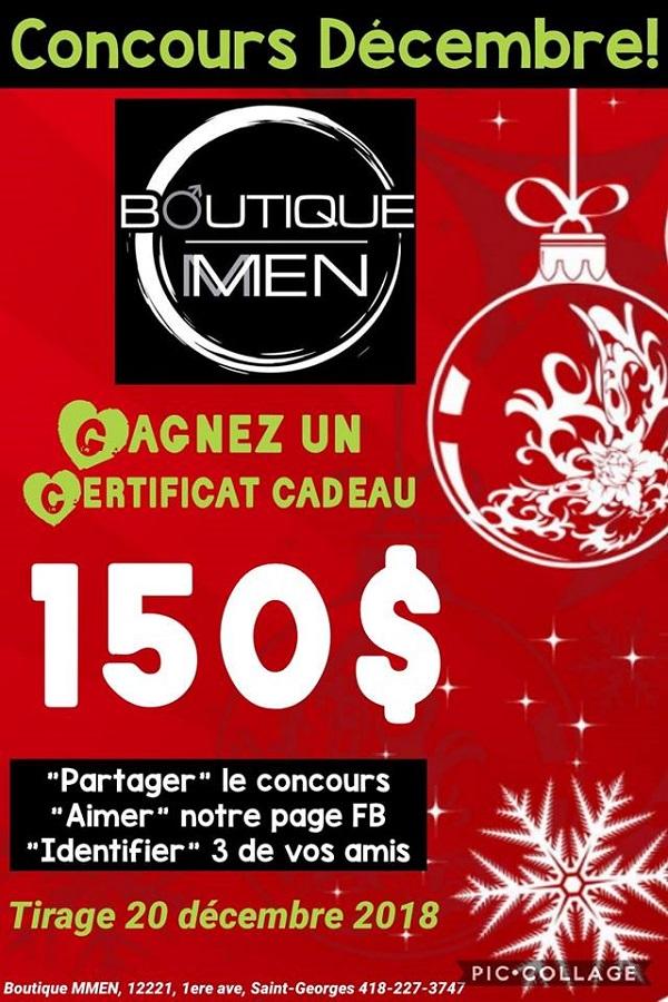 Concours Gagnez un certificat cadeau de 150$ à la boutique MMEN!