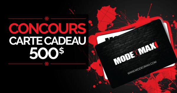 Concours Gagnez une Carte Cadeau Mode-O-Max d'une valeur de 500$!