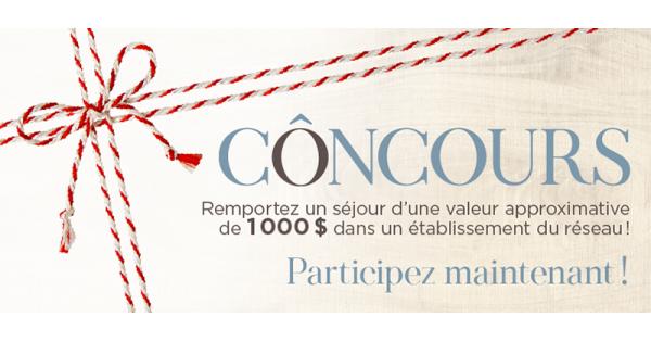 Concours Gagnez l'un des 4 forfaits pour 2 personnes dans l'un des établissements du réseau Ôrigine artisans hôtelier!