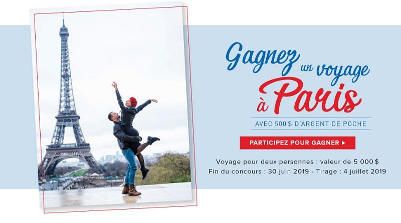 Concours Gagnez un voyage à Paris et 500$ d'argent de poche!