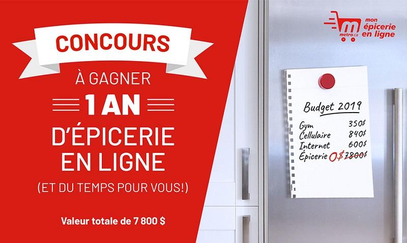 Concours Gagnez 1 an d'épicerie en ligne chez Métro d'une valeur de 7 800$!