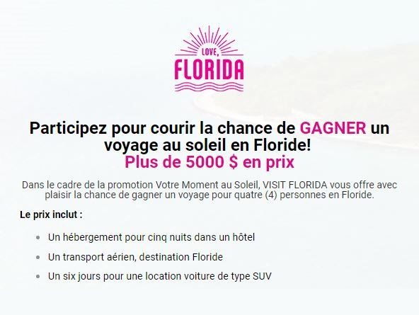 Concours GAGNEZ un voyage au soleil en Floride!