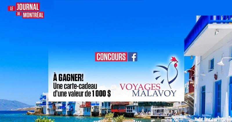 Concours Gagnez une carte-cadeau de Voyages Malavoy d'une valeur de 1 000 $!