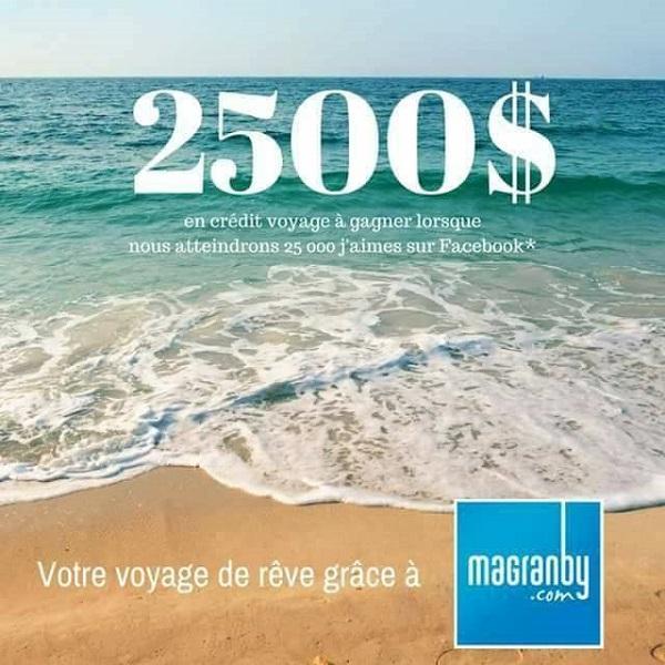 Concours Gagnez 2500$ en crédit voyage!