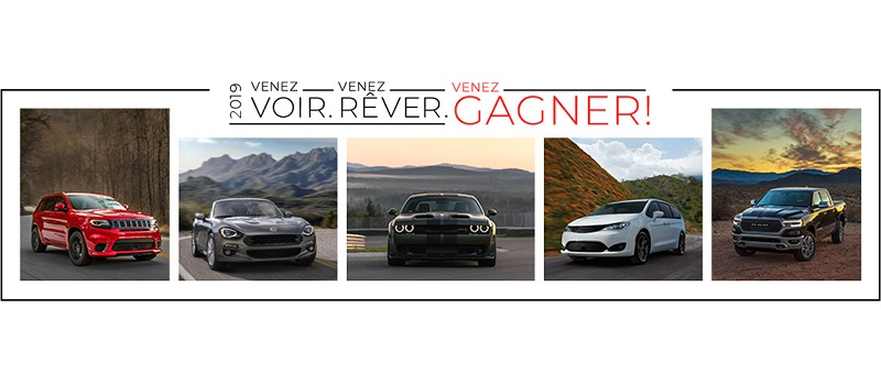 Concours Gagnez un bon d'une valeur pouvant atteindre 57 000$ applicable à l'achat ou à la location d'un véhicule neuf Chrysler, Jeep, Dodge, Ram ou FIAT!
