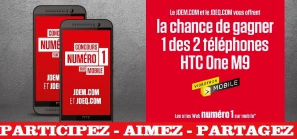 Concours gagnez un téléphone mobile HTC One M9!